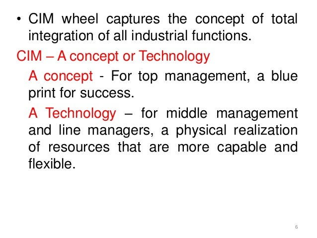 • CIM wheel captures the concept of total  integration of all industrial functions.CIM – A concept or Technology  A concep...