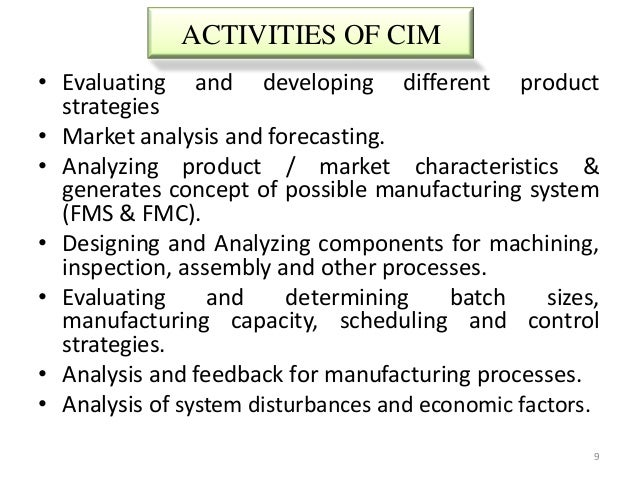 ACTIVITIES OF CIM• Evaluating and developing different product  strategies• Market analysis and forecasting.• Analyzing pr...