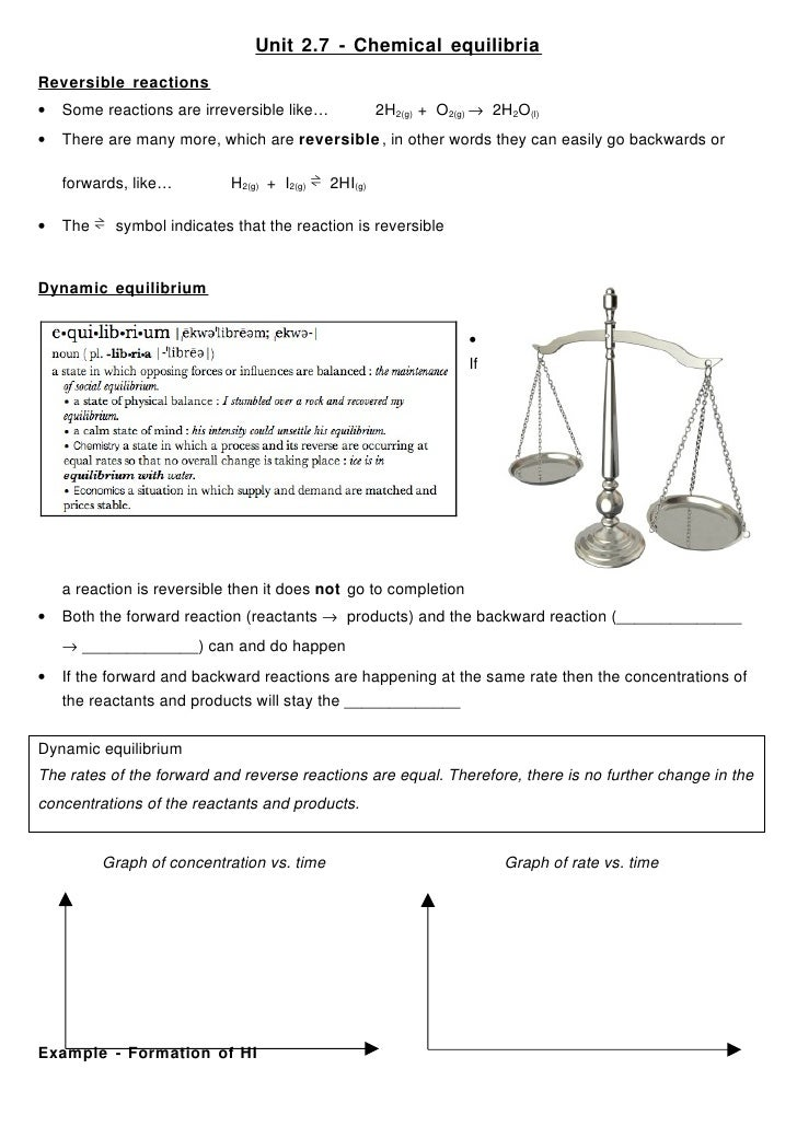 Unit 2.7 - Chemical equilibria Reversible reactions •   Some reactions are irreversible like…            2H2(g) + O2(g) → ...