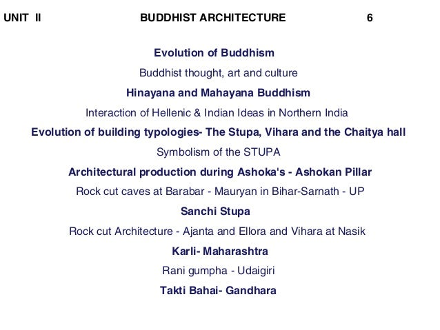 UNIT II BUDDHIST ARCHITECTURE 6 Evolution of Buddhism Buddhist thought, art and culture Hinayana and Mahayana Buddhism Int...