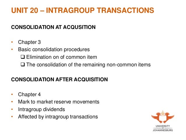 Intra group transactions consolidating debt