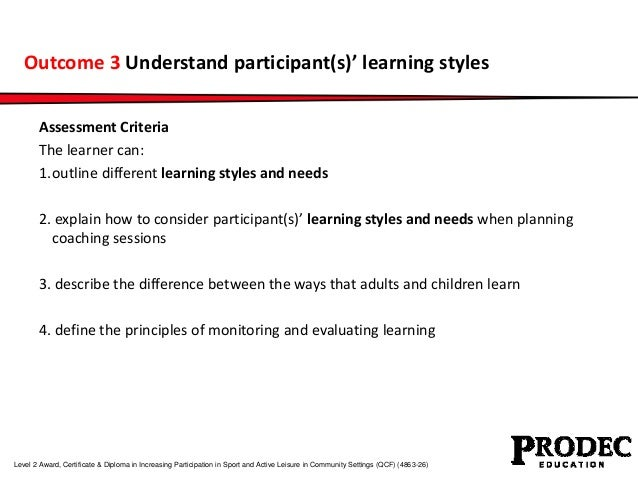 Outcome 3 Understand participant(s)' learning styles  Assessment Criteria  The learner can:  1.outline different learning ...