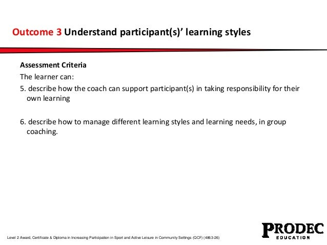Outcome 3 Understand participant(s)' learning styles  Assessment Criteria  The learner can:  5. describe how the coach can...