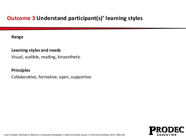 Outcome 3 Understand participant(s)' learning styles  Range  Learning styles and needs  Visual, audible, reading, kinaesth...