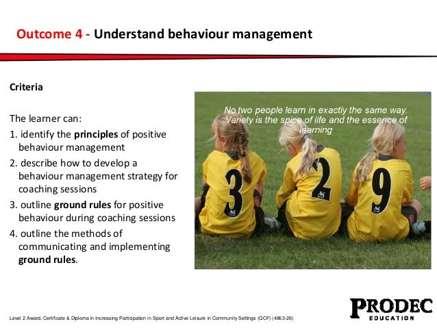 Outcome 4 - Understand behaviour management  Criteria  The learner can:  1. identify the principles of positive  behaviour...