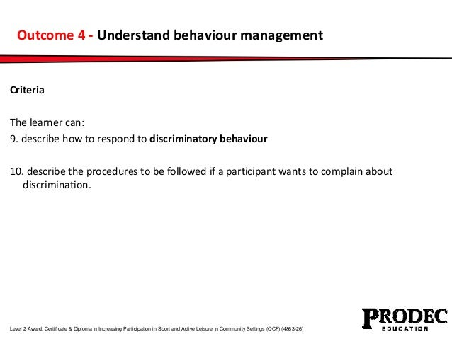 Outcome 4 - Understand behaviour management  Criteria  The learner can:  9. describe how to respond to discriminatory beha...