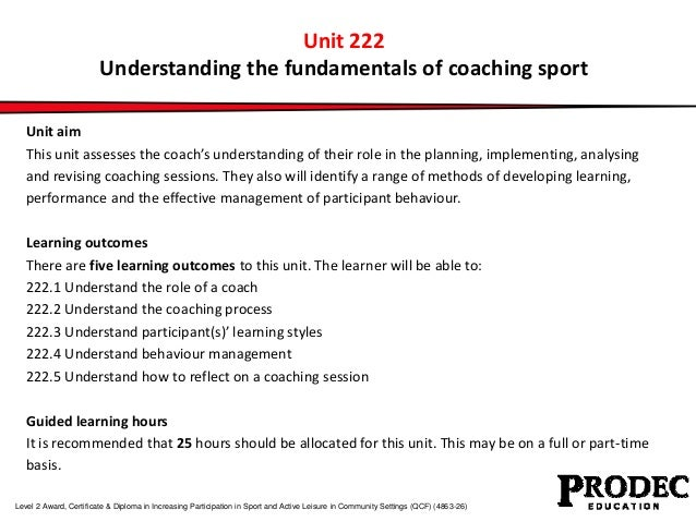Unit 222 understanding the fundamentals of coaching sport Slide 3