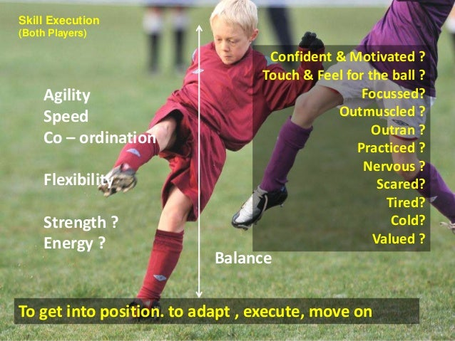 Confident & Motivated ?  Touch & Feel for the ball ?  Balance  Agility  Speed  Co – ordination  Flexibility  Strength ?  E...