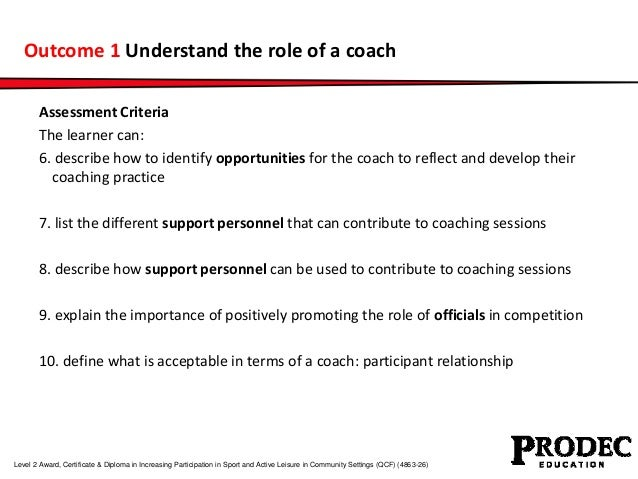 Outcome 1 Understand the role of a coach  Assessment Criteria  The learner can:  6. describe how to identify opportunities...