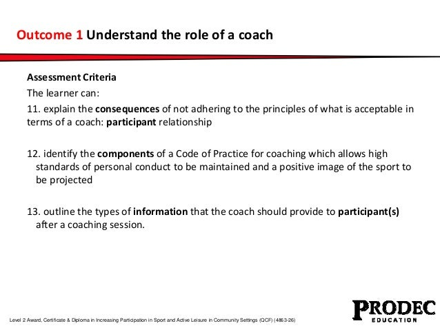 Outcome 1 Understand the role of a coach  Assessment Criteria  The learner can:  11. explain the consequences of not adher...
