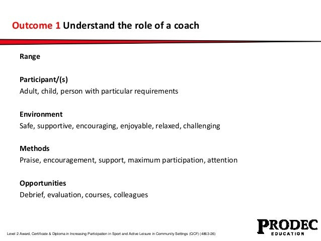 Outcome 1 Understand the role of a coach  Range  Participant/(s)  Adult, child, person with particular requirements  Envir...