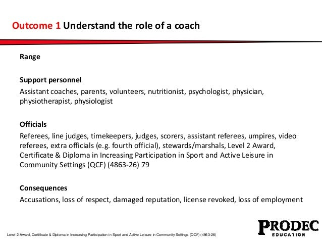 Outcome 1 Understand the role of a coach  Range  Support personnel  Assistant coaches, parents, volunteers, nutritionist, ...