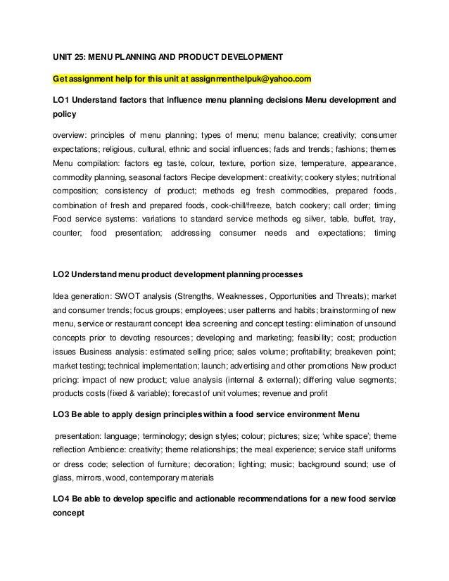 menu planning and product development (unit 25)