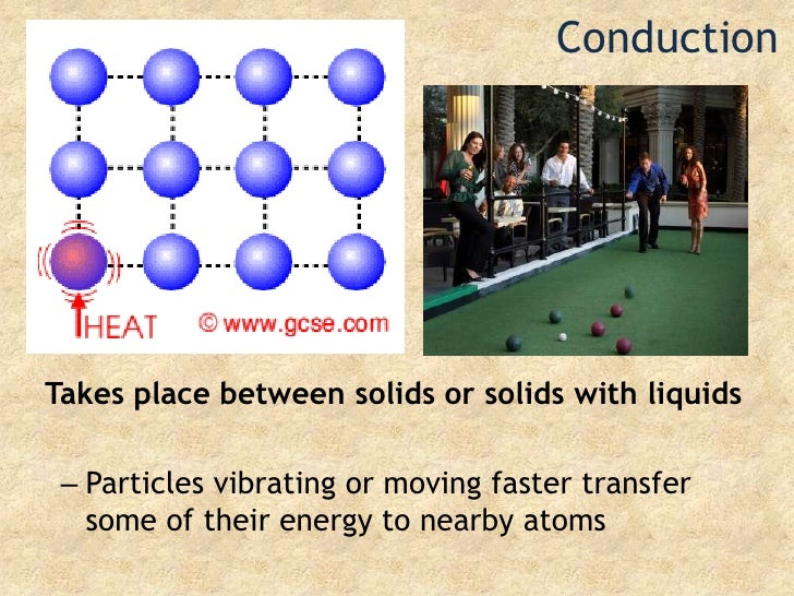 Conduction<br />Takes place between solids or solids with liquids<br />Particles vibrating or moving faster transfer some ...
