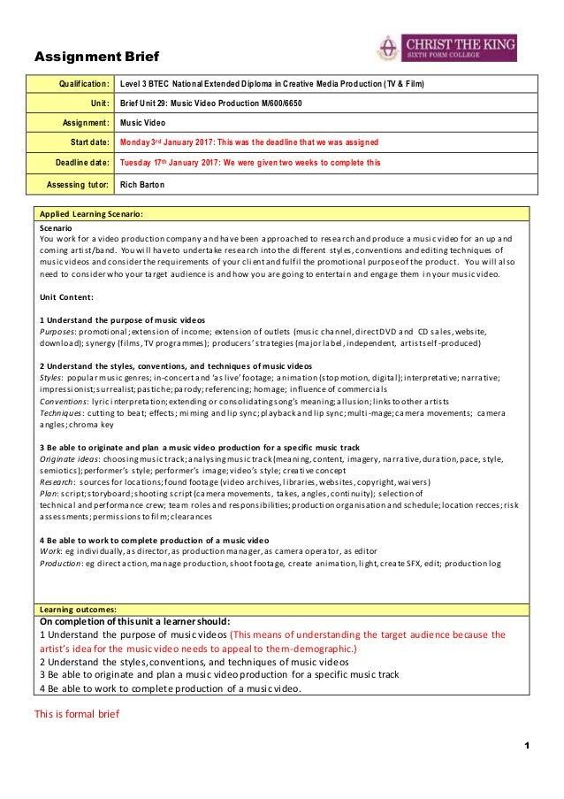 assignment brief unit 1