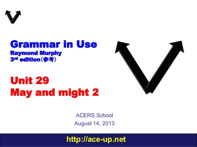 http://ace-up.net Grammar in Use Raymond Murphy 3rd edition(参考) Unit 29 May and might 2 ACERS School August 14, 2013