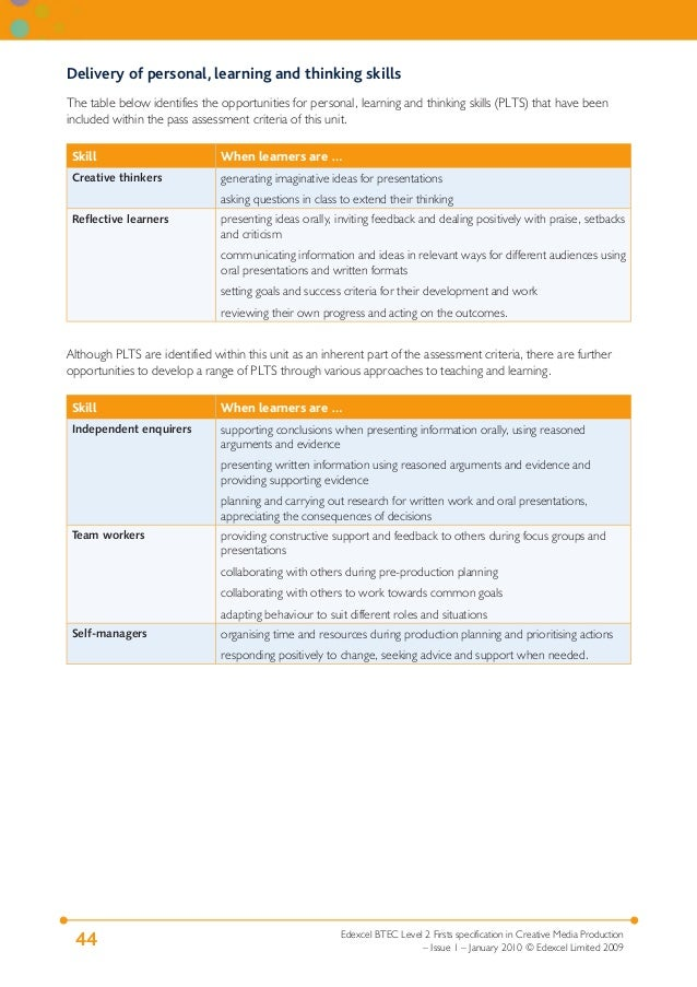 Delivery of personal, learning and thinking skills The table below identifies the opportunities for personal, learning and...