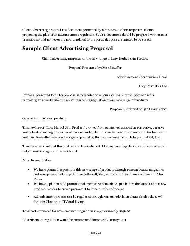Unit 2 d1 distinction level sample client advertising proposal