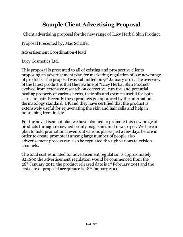 Unit 2 d1 distinction level sample client advertising proposal re do