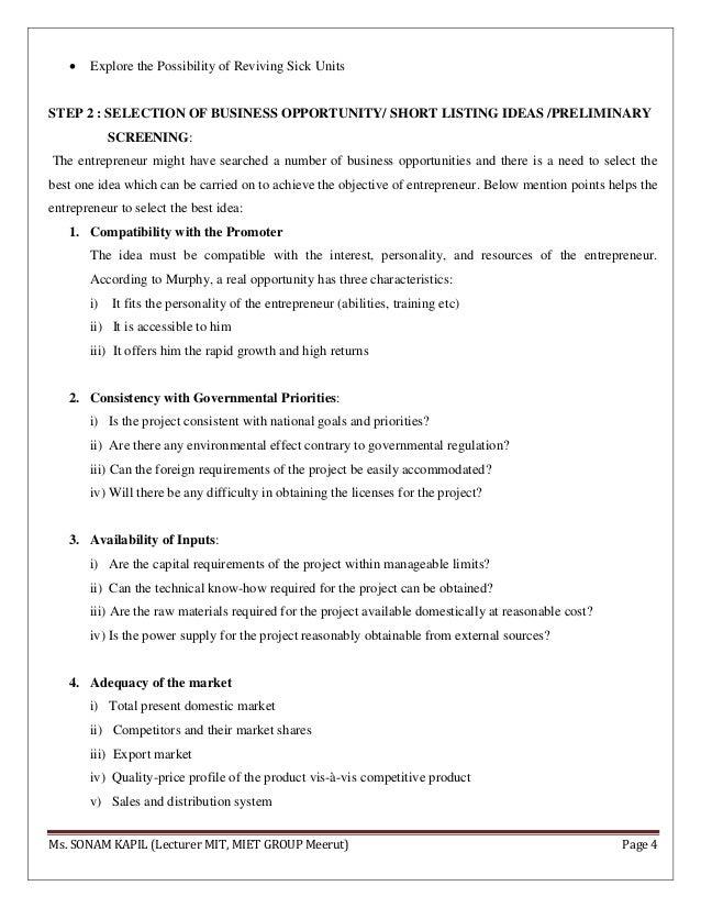 Entrepreneurship (Project identification)