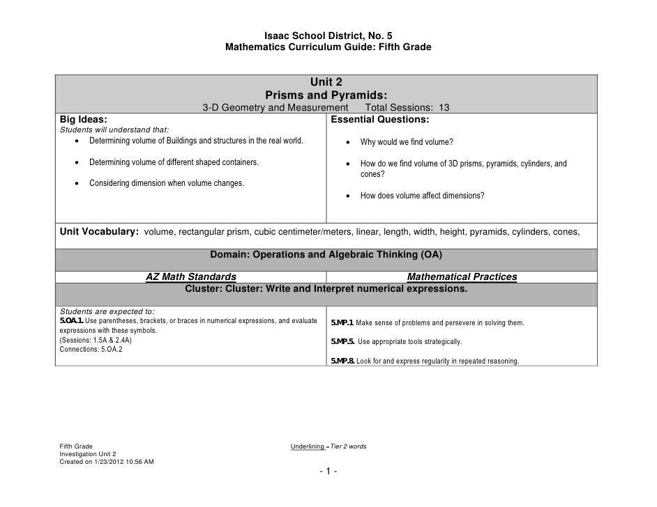 Isaac School District, No. 5                                                     Mathematics Curriculum Guide: Fifth Grade...