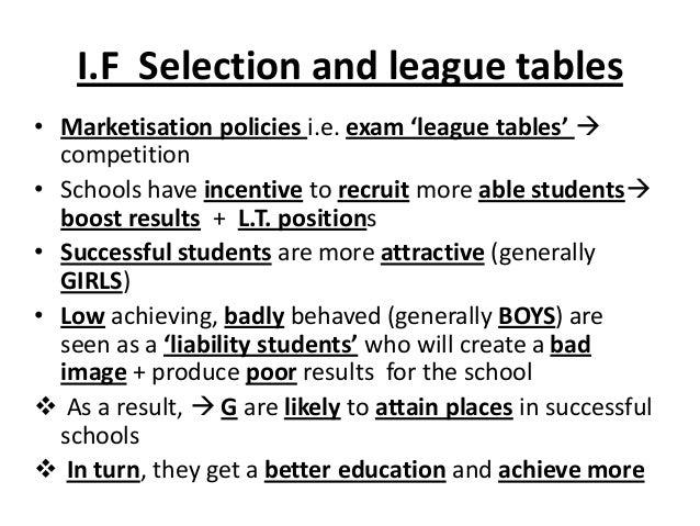 I.F Selection and league tables • Marketisation policies i.e. exam 'league tables'  competition • Schools have incentive ...