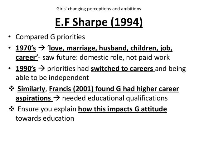 E.F Sharpe (1994) • Compared G priorities • 1970's  'love, marriage, husband, children, job, career'- saw future: domesti...