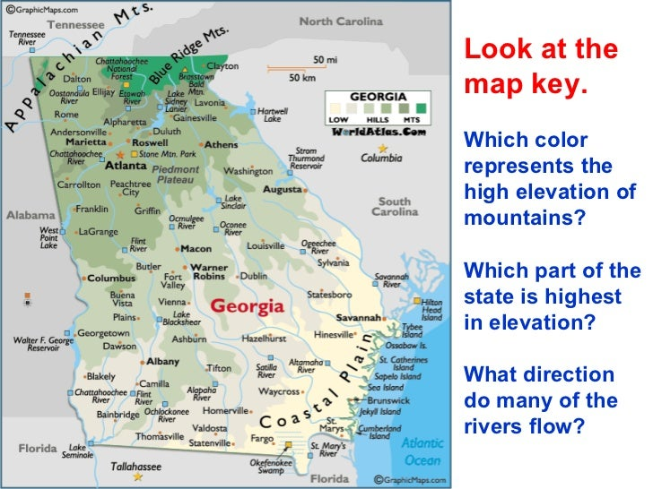 Georgias Regions And Rivers Ppt - Georgia map key