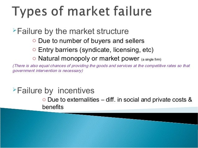 market failure and government policies Consider the four biggest market failures in human history:  and government intervention is bad  a legitimate purpose of public policy is to intervene in markets to prevent market failure .