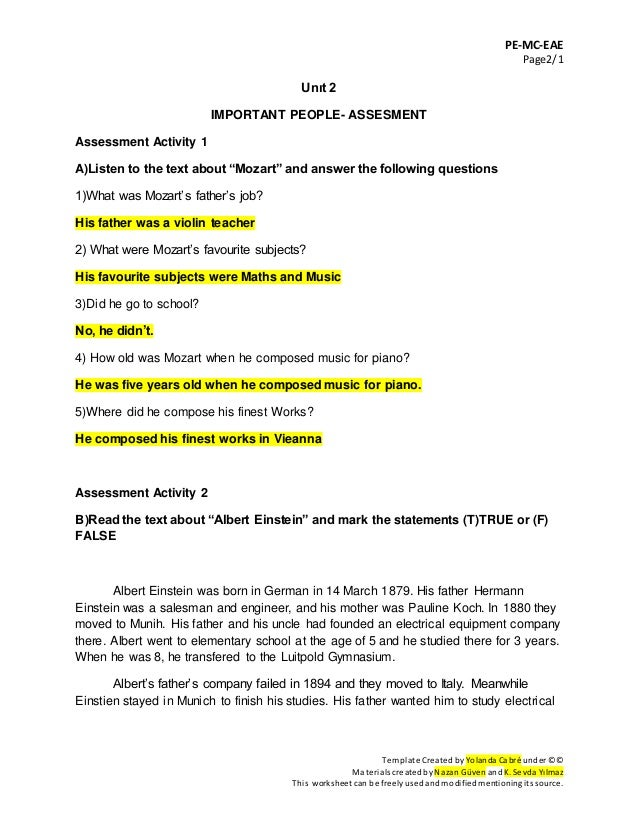 Unit 2 Important People Assessment Answer Key