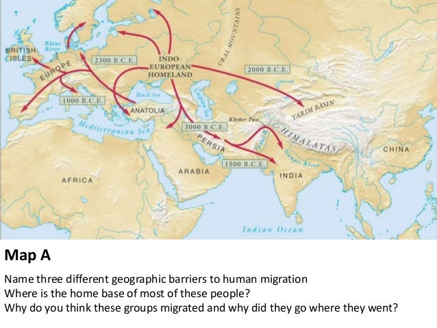 Map A Name Three Different Geographic Barriers To Human Migration Where Is  The Home Base Of ...