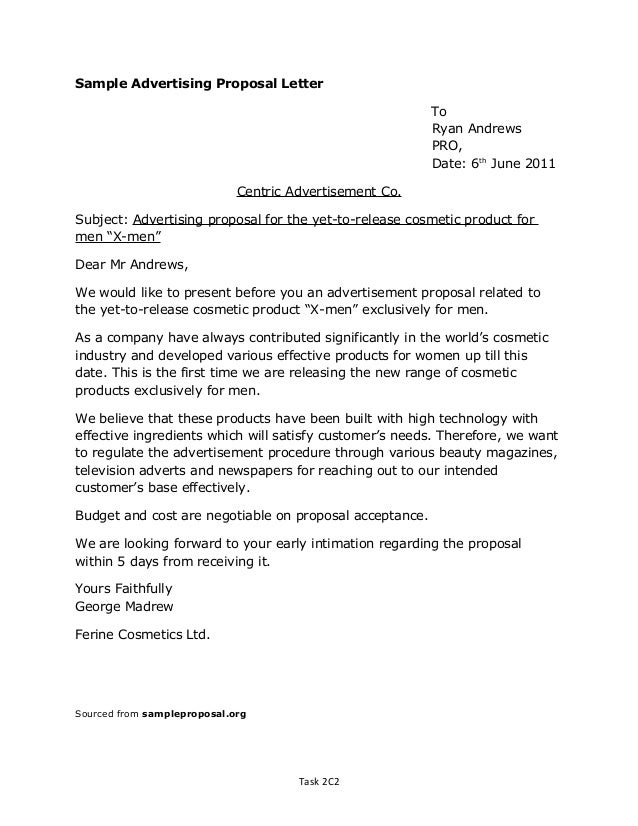 advertising proposal letter Oylekalakaarico