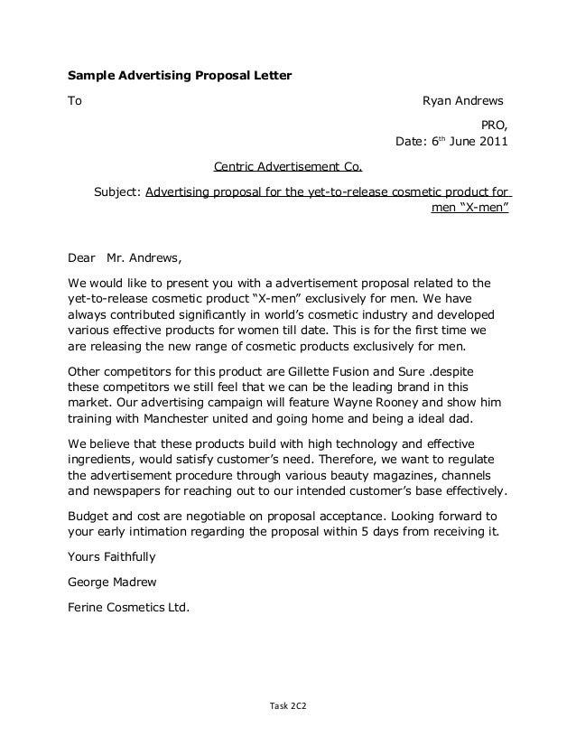 Doc638826 Advertising Proposal Letter Letter sample 89 – Product Proposal Letter