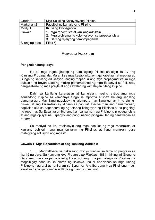1   Grado 7 Mga Saksi ng Kasaysayang Pilipino Markahan 2 Pagsibol ng kamalayang Pilipino Modyul 3 Kilusang Propaganda ...
