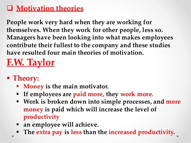 business studies motivation report An employee's performance typically is influenced by motivation, ability, and the  work  herzberg's studies of accountants and engineers led him to suggest that.