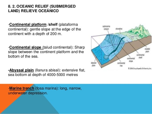 8. 2. OCEANIC RELIEF (SUBMERGED LAND) RELIEVE OCEÁNICO -Continental platform /shelf (plataforma continental): gentle slope...