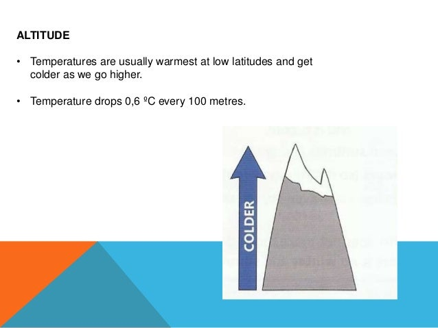 ALTITUDE • Temperatures are usually warmest at low latitudes and get colder as we go higher. • Temperature drops 0,6 ºC ev...