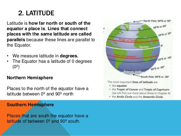 2. LATITUDE Latitude is how far north or south of the equator a place is. Lines that connect places with the same latitude...