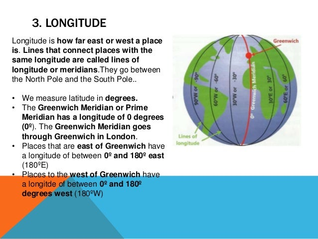3. LONGITUDE Longitude is how far east or west a place is. Lines that connect places with the same longitude are called li...