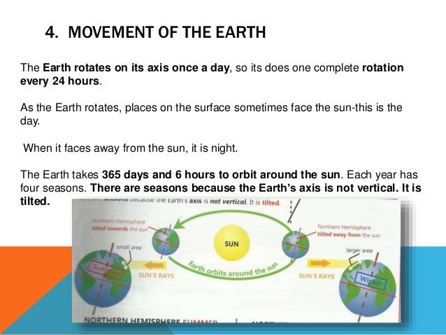 4. MOVEMENT OF THE EARTH The Earth rotates on its axis once a day, so its does one complete rotation every 24 hours. As th...