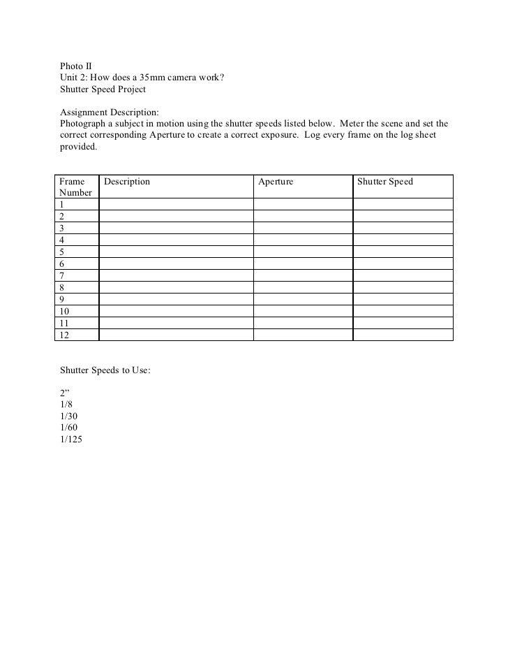 Photo 2 Unit 2 shutter speed aperture project log sheet