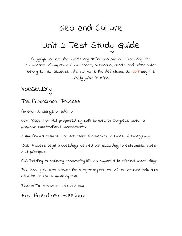 Geo and Culture            Unit 2 Test Study Guide     Copyright Notice: The vocabulary definitions are not mine. Only the...