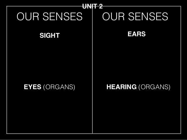 OUR SENSES EYES (ORGANS) SIGHT EARS HEARING (ORGANS) UNIT 2 OUR SENSES