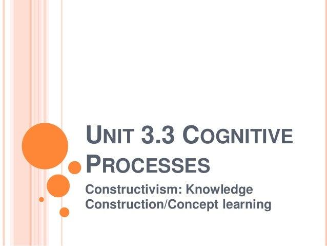 UNIT 3.3 COGNITIVE  PROCESSES  Constructivism: Knowledge  Construction/Concept learning