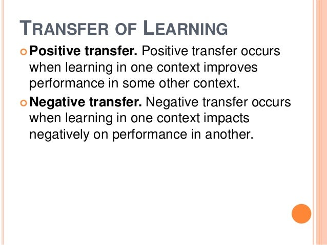 TRANSFER OF LEARNING  Positive transfer. Positive transfer occurs  when learning in one context improves  performance in ...