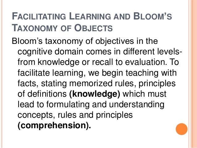 FACILITATING LEARNING AND BLOOM'S  TAXONOMY OF OBJECTS  Bloom's taxonomy of objectives in the  cognitive domain comes in d...