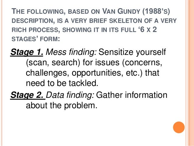 THE FOLLOWING, BASED ON VAN GUNDY (1988'S)  DESCRIPTION, IS A VERY BRIEF SKELETON OF A VERY  RICH PROCESS, SHOWING IT IN I...