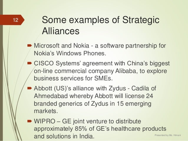 """joint ventures and strategic alliances nokia microsoft etc Financial alliances include alliances with private equity firms (also known as """" financial sponsors""""), venture capital firms, hedge funds, family offices, and high net the tcs-microsoft alliance offers the following joint solutions: • banking crm solution • insurance management solution • global operations."""