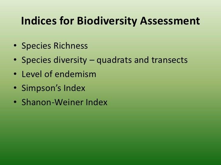 Measurements of biodiversity
