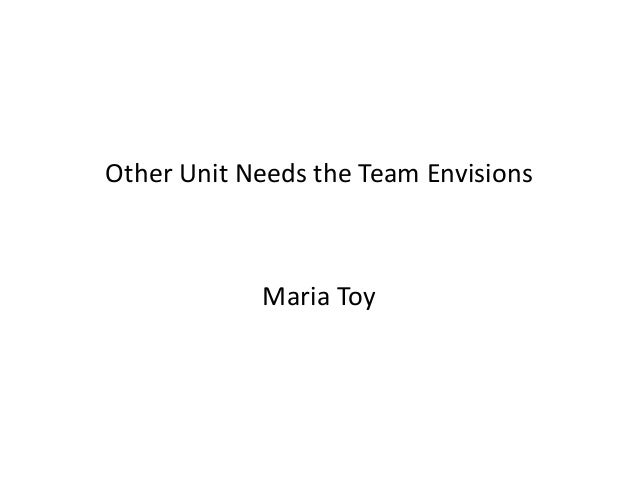 Other Unit Needs the Team Envisions  Maria Toy